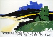 Northumberland, Bamburgh Castle. LNER Vintage Travel Poster by Tom Purvis